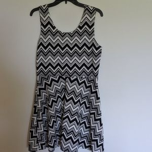French atmosphere Chevron skater dress